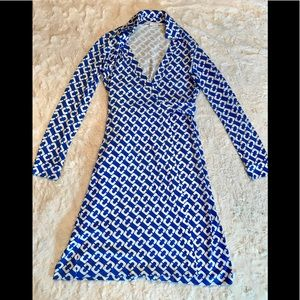 Diane Von Furstenberg Silk Print Wrap Dress